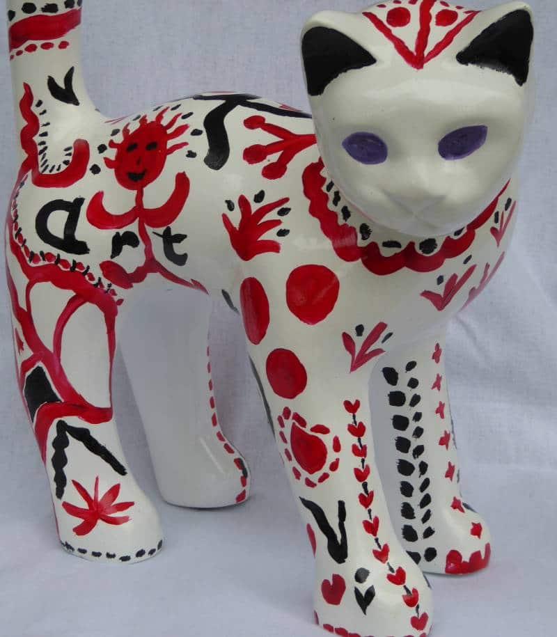 chat noir blanc rouge