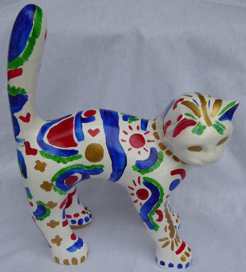 chat en résine peint à la main en oeuvre unique