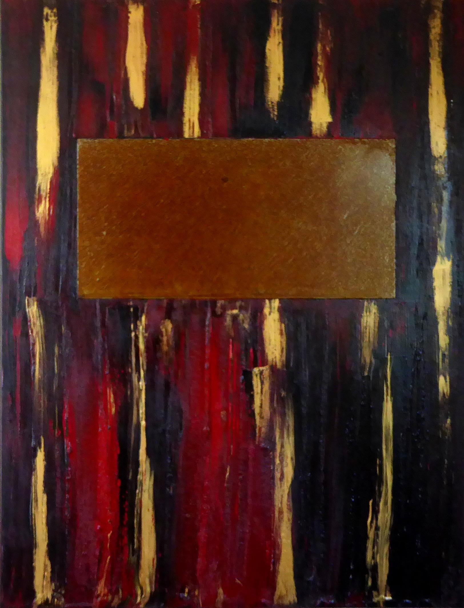 peinture acrylique et plaque d'acier rouillé
