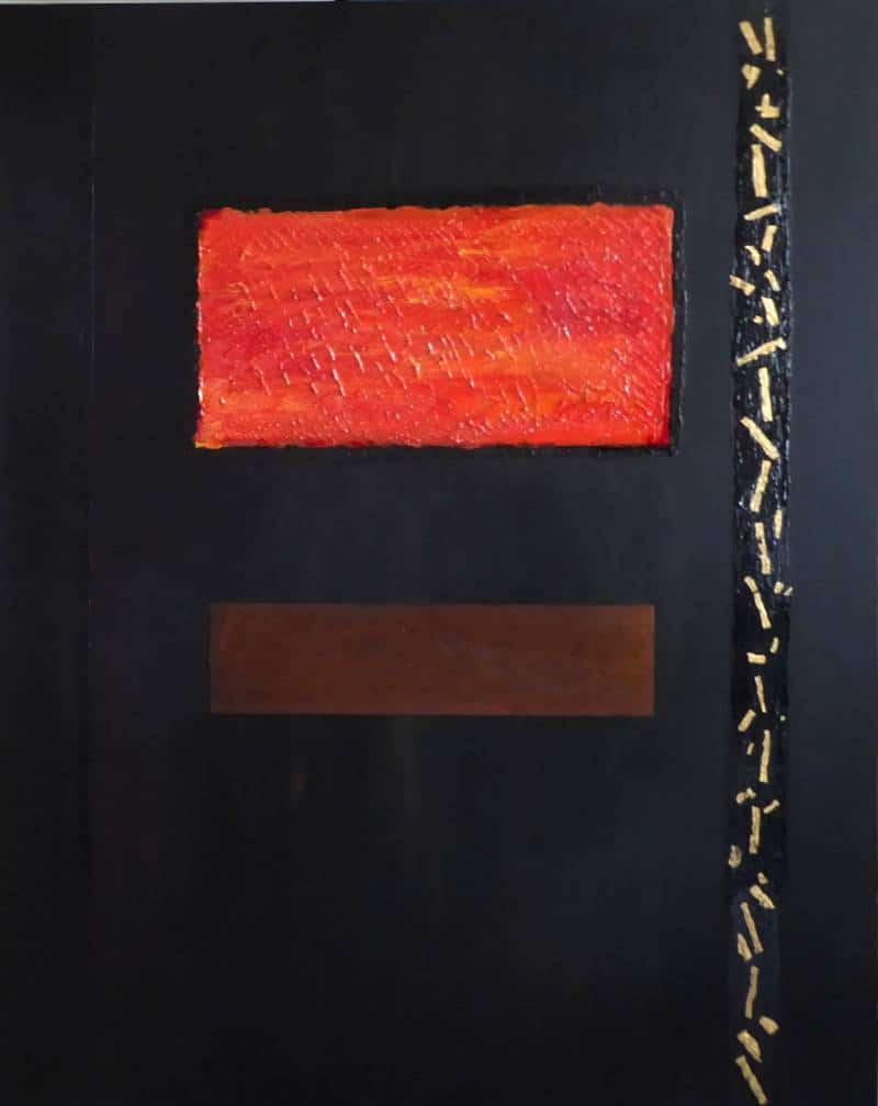 peinture avec application de feuilles d'or froissées et plaque d'acier